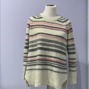 Pink/gray/cream striped Isabel maternity sweater